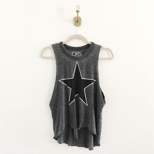 Chaser Star Front Tie Knot Muscle Burnout Tank